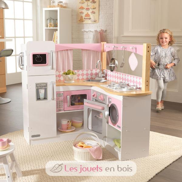 kidkraft, kitchen out of large wood strangles, pretty kitchen of