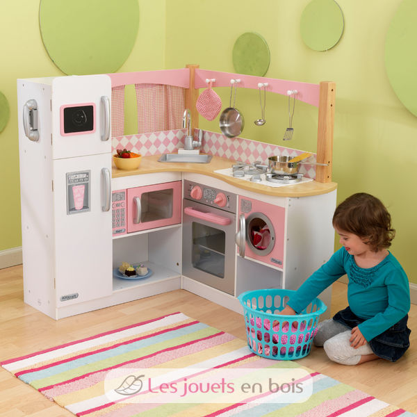 kidkraft, kitchen out of large wood strangles, pretty kitchen of