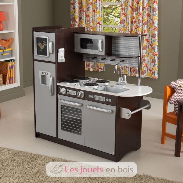 kidkraft, uptown espresso kitchen wooden girl and boy kidkraft 53260