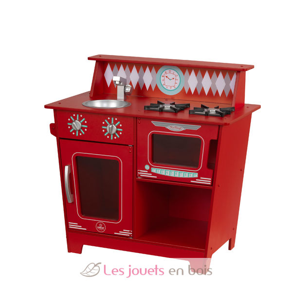 kidkraft 53362 red classic kitchenette, a wooden kitchen for kids