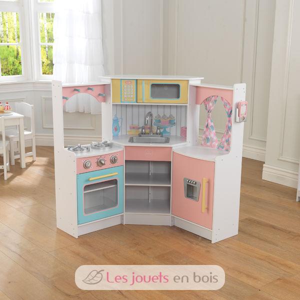 kidkraft 53368 deluxe corner play kitchen, a wooden kitchen for kids