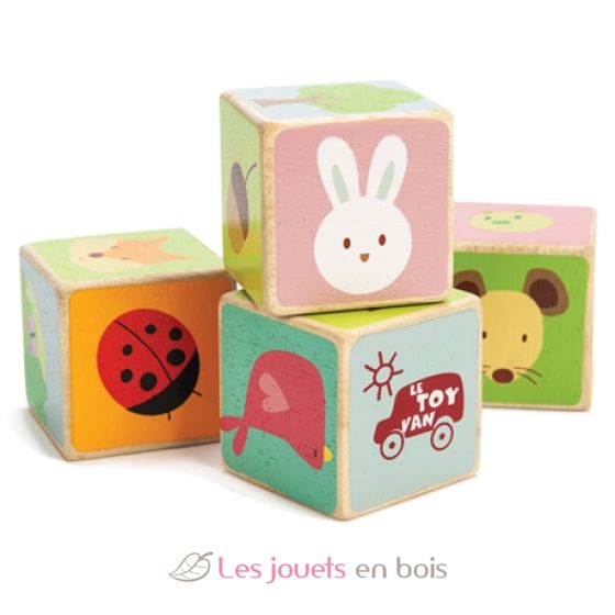 Cube En Bois 4 cubes out of wooden of theme of the forest. little leaf blocks le